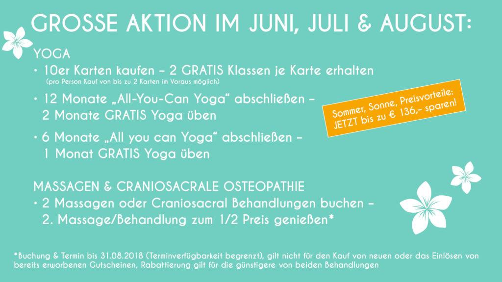 Sommer, Sonne, Preisvorteile bei Yoga, Massagen, Osteopathie
